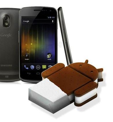 Galaxy nexus image with nexus title and google ice cream sandwich logo