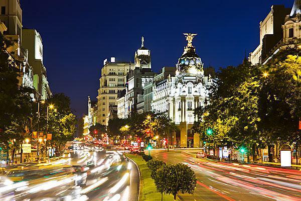 Madrid gran via night spain