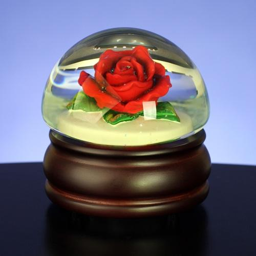 San Francisco Music Box Red Rose Mushroom Waterglobe N7293 Xl