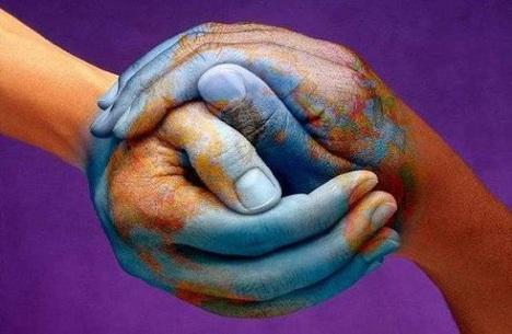 Holding Hands Peace Planet Earth Painted