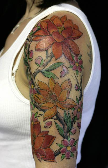 Women Flower Sleeve Tattoo