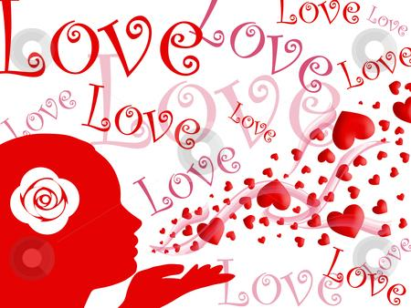 Cutcaster Photo 800865057 Woman Blowing Kisses Of Hearts And Love