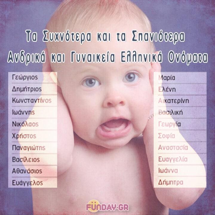 Τα συχνότερα και τα σπανιότερα ανδρικά και γυναικεία Ελληνικά ονόματα